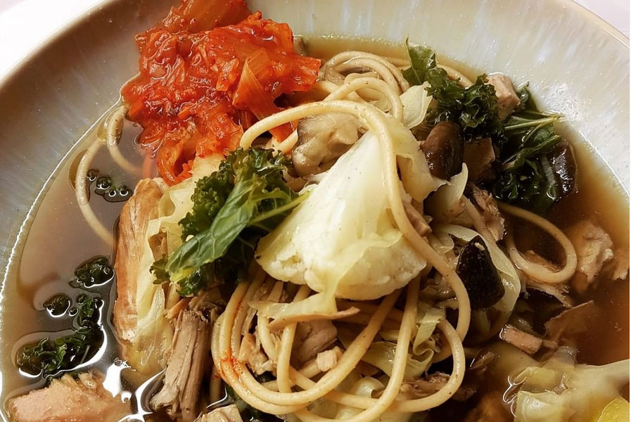 Bone Broth Asian Noodle Soup with Kimchi